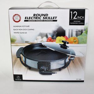 """New Chef's Counter Round Electric Skillet 12"""" NEW!"""